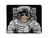 Yeuss Lustige Astronauten Rechteckiges rutschfestes Mauspad Lustiger Schimpanse im Astronautenanzug, der eine Zigarre raucht Gaming Mauspads 200 mm x 240 mm