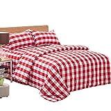Michorinee Bettwäsche Kariert 135x200 Rot Rosa Weiß Landhäuser Karo Bettbezug mit Reißverschluss 2 Teilig Microfaser Rot Weiss Karierte Bettwäsche Set - 135 x 200 + 80 x 80 cm