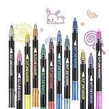 Outline Stifte Pecosso 12 Farbige Umrissstifte mit, 2 Linien Outline Marker,Outline pens,Umrissmarker,Stifte für Kunst, Zeichnen,Grußkarten,Bastelprojekte,Malerei,Tagebuch