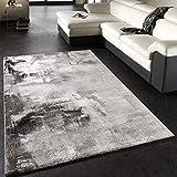 Paco Home Teppich Modern Designer Teppich Leinwand Optik Grau Schwarz Weiss Meliert, Grösse:160x230
