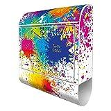 Banjado Design Briefkasten personalisiert mit Motiv Farbspritzer | Stahl pulverbeschichtet mit Zeitungsrolle | Größe 39x47x14cm, 2 Schlüssel, A4 Einwurf, inkl. Montagematerial