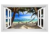 3D Wandmotiv Meer Strand Palmen Hängematte Fenster Wandbild selbstklebend Wandtattoo Wohnzimmer Wand Aufkleber 11E375, Wandbild Größe E:98cmx58cm