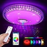 LED Deckenleuchte, Zorara 36W Deckenlampe mit Fernbedienung Bluetooth Lautsprecher, RGB Farbwechsel Wohnzimmerlampe Dimmbar APP Steuerung Kinderzimmerlampe 2700-6500K IP44 für Wohnzimmer Kinderzimmer