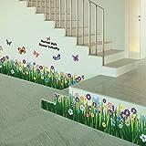 Amazingdeal365 Schmetterlings-Gras-Blumen-Aufkleber Removable DIY Vinyl-Zitat-Wandaufklebe für Kindergarten Kinderzimmer Schule Größe:Ca. 163 cm x 50