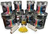 SAMATEC Bodenbeschichtung Komplett Set in Platingrau RAL 7036 für 50m² 2K Epoxidharz Bodenfarbe Betonfarbe Beschichtung 'All in One' inkl. Grundierung + Werkzeug + Reiniger