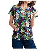 Damen Halloween Top Kurzarm Top mit V-Ausschnitt Work Lsolation Kleidung Uniform Tops Sommer Bluse Hemdbluse Damen Tunika Hemd Kariert Langarm Shirt Damen T-Shirt