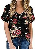 OMZIN Damen Sommershirt mit Tasche Oberteile Blusen Locker Lässiges Casual Shirt Schwarz/Rot Blumen XL