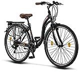 Licorne Bike Stella Premium City Bike in 28 Zoll - Fahrrad für Mädchen, Jungen, Herren und Damen - 21 Gang-Schaltung - Hollandfahrrad - Schwarz