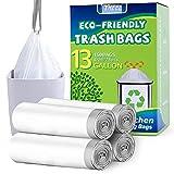 YHEEL 50L Müllbeutel biologisch abbaubar Küchen Abfallbeutel mit Kordelzug 13 Gallone Müllsäcke Recycelbare für Küche, Garten, Büro, Weiß (100 Stück)