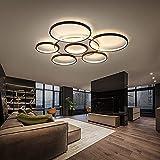 LED-Ring-Wohnzimmerlampe Mit Fernbedienung 3000K-6500K Dimmbare Runde Aluminium-Deckenlampe Mit Memory-Funktion Dekorative Beleuchtung Geeignet Für Wohnzimmer, Schlafzimmer, Küche (110x6CM/7Ringe)