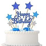 VAINECHAY Party Kuchen Dekoration Supplies Cake Topper Happy Birthday Girlande Tortendeko Geburtstag Mädchen Junge Cupcake Toppers Star, Blau Silb