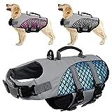 Kuoser Hunde Warnweste mit Hoher Sichtbarkeit, Verstellbarer Schwimmweste für Haustiere mit Reflektierenden Streifen und Rettungsgriff, Leuchtende Fischschuppen Hunde Rettungsweste für Pool-Strand