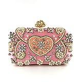 Celivin Clutch Handtasche mit Pailletten und Metallperlen, Rosa, kurze und lange Ketten für Abendveranstaltungen und Hochzeiten