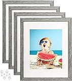 8x10 Bilderrahmen 4er Set aus gehärtetem Glas für 3 Displays - 5x7 Bild oder zwei 4x6 Fotos mit Matte 8x10 ohne Matte-grau_11x14