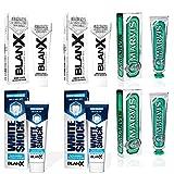 2x BlanX White Shock Zahnaufhellung, Zahnschmelzschonende Zahncreme, für weißere Zähne, 75ml. + 2x BLANX Zahnpasta Sbiancante 75 ml + 2x MARVIS Classic Strong Mint, Zahncreme
