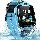 Smartwatch Kinder Uhr Telefon Kinder Smartwatch mit LBS Tracker Voice Chat, wasserdichte Kids Smart Watches für Jungen und Mädchen Geburtstagsgeschenk, Blue