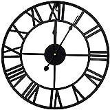 Outpicker Wanduhr Große Wanduhr 60cm Lautlos Uhr Vintage Wanduhren Metalluhr mit römischen Ziffern für Wohnzimmer für Haus, Wohnzimmer, Küche, Cafe (Schwarz groß)
