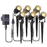 Gartenbeleuchtung,Azhien Gartenstrahler LED mit Erdspieß,6x3W 1800Lm Gartenleuchte,IP65 Warmweiß COB LED Gartenlampe 17.5M für Außen Wegbeleuchtung Rasenlicht Landschaftslampe Gartenleuchte,6er Set