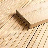 HORI® sibirische Lärche Terrassendiele Komplettset Massiv Nadelholz I Bausatz inkl. 45 x 70 mm Unterkonstruktion I Fläche: 1 Muster I Muster Dielenläng