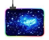 Mauspad, RGB, LED-Lichteffekte, Gaming-Mäuse-Pad, 35 x 25 cm, rutschfeste Gummiunterseite.