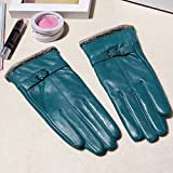 IREANJ Handschuhe Frauen Handschuhe für Winterwolle gefütterter Winter echte Lederhandschuh Warme Damen Luxus Schaffell Innenhandschuhe Schwarze Lederhandschuhe