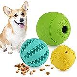 Idepet Hundeleckerli-Ball, 3er-Set, ungiftig, Naturgummi, Apportierfutter, Quietschspielzeug für kleine, mittelgroße und große Hunde, Zahnreinigung, Kautraining, IQ-Training