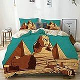 Bettbezug Set Beige, Vintage Poster von Sphinx und Pyramiden in Gizeh Altes berühmtes Denkmal Kairo, dekoratives 3-teiliges Bettwäscheset mit 2 Kissenbezügen Pflegeleicht Antiallergisch Weich Glatt