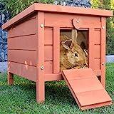 zooprinz großes Kleintierhaus mit klappbarem Dach – perfekt für draußen und drinnen – Besonders einfach umgestellt – Nagerhaus aus Vollholz mit natürlicher Farbe gestrichen - Hasenhaus Kaninchen H