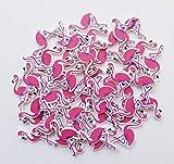 edelkern Streudeko | Kleine Flamingos - 3,5 cm Höhe | Sommerdekoration aus Holz | Ideal zum Dekorieren, als Verzierung, Dekoartikel, Partydeko, Holzdeko, Tischdeko, Bastelzubehör, DIY | 50