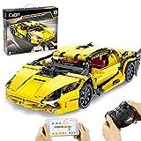 Bataop Technik Bausteine CADA Super Sportwagen Auto mit APP / 2.4G-Fernbedienung, Gelb, 456 Teilen, Konstruktionsspielzeug