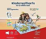 Play Kinderweltkarte im Großformat + 84 Fragekarten + 1 Würfel, Reißfest u. Wasserfest