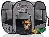 dainz ® Welpenauslauf faltbar - Welpenlaufstall [in Sekunden aufgebaut] für Hunde, Katzen & Kleintiere - Mobiler & sehr Leichter Hundelaufstall +Zubehör - Wurfkiste für Wohnung, Garten, Reisen…
