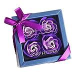 Andouy Seife Rose Blume Floral Duft Seife Rose Flower Blumen in Geschenkbox für Geburtstag/Jahrestag/Valentinstag/Muttertag(23x12x5cm.Lila-4)