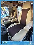 Wohnmobil Sitzbezüge Fahrer und Beifahrer inkl. Armlehnenbezüge 830 Beige Braun