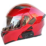 Bluetooth Integrierter Modularer Helm Hochklappbarer Integralmotorradhelm Moped Street Racing Motorrad Unisex-Erwachsener Doppelvisierhelm ECE Zugelassen FM/1200 Mah/MP3 Etc,Rot,L