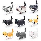 Bemodst Auto Verzierungen Katze Fahrzeug Innendekoration Kätzchen Katze Figuren Geschenke Autoaccessoires (Cool Color)