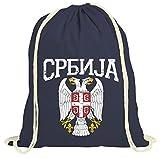 Serbien Wappen Premium Turnbeutel | Serbe | Belgrad | Balkan | Gymbag, Farbe:Navyblau (Gymbeutel);Größe:37cm x 46