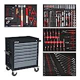 STIER Werkstattwagen Black, bestückt 241-teilig, Werkzeuge in Weichschaumeinlage (EVA), Tragkraft 300kg, 7 Schubladen