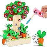 LETOMY Magnetische Holzspielzeug, 3 in 1 Kinderspiel, Specht Raupen Fangen Spiel Karottenspiel, Dekoratives Apfelbaumspielzeug in Form und Größe Sortieren Spielzeug mit 3 Karottengrößen Kleink