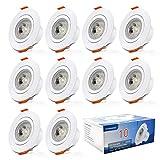 Aialun LED Einbaustrahler flach 230v 10 x 6w Schwenkbar Ultra flach LED Spot Warmweiß IP44 3000K für Wohnzimmer, Badezimmer, Büro