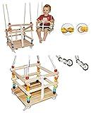 alles-meine.de GmbH Gitterschaukel mit abnehmbaren Gurt - Babyschaukel / Kinderschaukel - Leichter Einstieg ! - Schaukel aus Holz - mitwachsend & verstellbar - Holzgitterschauk