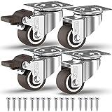 GBL - 4 Klein Rollen für Möbel + Schrauben 25mm 40KG Transportrollen Set | Lenkrollen mit bremse | Schwerlastrollen rollen für Palettenmöbel | Möbelrollen