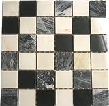 GTDE 8mm Marmor Mosaik Fliesen Matte in Schwarz und Weiß (MT0060) für Wand und Boden