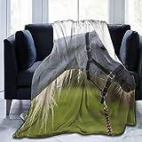 Cap pillow Fleecedecke 127 x 152,4 cm – Pferde-Maulkorb Profil Halfter Flanell-Fleece weich warm Plüsch Überwurf Decke für Bett/Couch/Sofa/Büro/Camping
