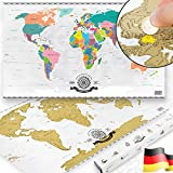 GOODS+GADGETS Scrape Off World map - Weltkarte zum Frei-Rubbeln; XXL Poster Rubbel-Weltkarte mit Premium Lack aus Deutschland 82 x 45 cm
