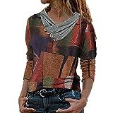 Oberteil Damen Pullover Sweatshirt Elegant Zipper Vinatge Drucken Langarm Tops Frühling Herbst Winter Sommer Langarmshirt Pulli Shirts Bluse