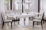 Esstisch Aurora 170 ausziehbar erweiterbar Küchentisch Säulentisch Weiß Bicolour (Weiß Hochglanz)