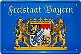 Tin Sign Blechschild 20x30 cm Freistaat Bayern Staatswappen Grenzschild Deko Schild Bar Kneip