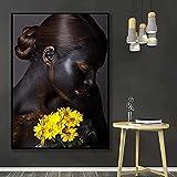 SHPXMBH Leinwandbild 70x90cm ohne Rahmen Leinwanddruck Afrikanische Schwarz Sexualität Blume Frauen Bild Dekor Bild Poster Modernes Bild