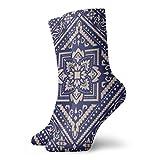 XCNGG Socken Rechteckiges Bandana-Druckdesign für Teppich Teppich Tapis Schal Handtuch Textil Vintage Soft Thick Knit Casual Crew Boot Sock